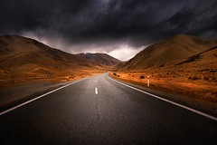 Storm Over Deserted Road (Noval N | Photography) Tags: road newzealand cloud mountain storm landscape highway