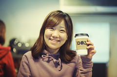 (Jon Siegel) Tags: portrait cute coffee girl beautiful smiling shop cafe cool nikon f14 85mm coffeeshop korea korean seoul nikkor barista stylish gangnam 13oz d700 nikkor85mmf14afd