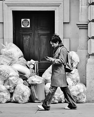 Rubbish Sign [Explored #362] (jaykay72) Tags: street uk blackandwhite bw london candid streetphotography gracechurchstreet londonist stphotographia