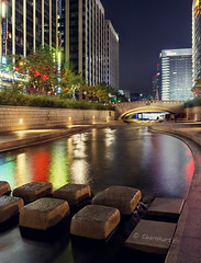 Go with the flow (4) (Charn High ISO Low IQ) Tags: longexposure nightphotography canon eos canal stream cityscape seoul southkorea hdr waterflow cheonggyecheon 600d