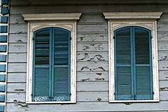 Blue Pair (Jules (Instagram = @photo_vamp)) Tags: windows buildings louisiana neworleans frenchquarter shutters