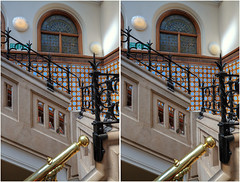 3D Stairwell, Leeds Central Library (Non Paratus) Tags: uk england stairs tile stereoscopic stereophotography 3d iron library yorkshire steps leeds victorian stairwell stairway staircase railing brass westyorkshire centrallibrary