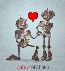 DIGITALUV.2.0 (Anisha_Creations) Tags: silly cute love nerd illustration digital computer screw toys robot funny technology married geek heart humor cartoon adorable machine marriage artificial romance intelligence future scifi sciencefiction machines proposal