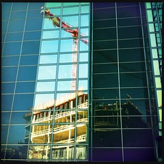 crane reflection (Casey Hugelfink) Tags: windows reflection constructionarea munich mnchen mirror construction crane baustelle bogenhausen