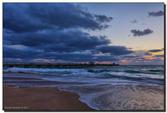 High Surf Advisory (Fraggle Red) Tags: morning clouds dawn pier surf waves florida hdr fishingpier lauderdalebythesea anglinsfishingpier 7exp canonef1635mmf28liiusm browardco dphdr commercialblvd commercialblvdpier