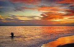 Dreamworks (Juampiter) Tags: sunset luz work atardecer mar rojo agua dream playa colores dreaming explore cielo nubes soledad reflexions calma bajamar pescador reflejos trabajando orilla pescar pescando tranquilidad islantilla quietud islacristina relajante mariscando aislado aguaencalma coquinero