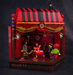 Bad fortune (captainsmog) Tags: ball monkey lego crystal clown scene tent fortuneteller vignette prediction diorama moc