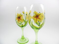 Wine Glasses Hand Painted Tiger Lily (Painting by Elaine) Tags: flowers green glass yellow glasses lily wine limegreen painted handpainted lime tigerlily wineglasses glassware stemware paintedglass handpaintedglass handpaintedwineglass paintedwineglass paintingbyelaine wineglasseshandpainted
