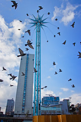 Still want a ride on it? (tootdood) Tags: city blue white tower clouds manchester still skies ride pigeons piccadilly want block canon600d