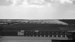 the Tay Bridge (byronv2) Tags: bridge blackandwhite bw snow history monochrome river landscape coast scotland blackwhite rivertay dundee engineering railway hills tay coastal taybridge tayrailbridge firthoftay rnbtay