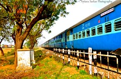 India's Lifeline! (A_Sarkar) Tags: travel blue india colors train nikon track crossing indian transport railways haryana d7000