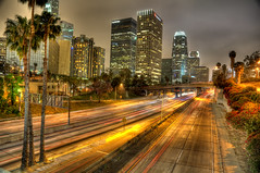 LALA land (pictcorrect) Tags: california city longexposure travel vacation architecture night la losangeles freeway