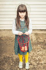 Dressed for egg collecting (Kilkennycat) Tags: blue portrait yellow standing canon children backyard shoes child basket turquoise egg 50mm14 converse eggs 500d chickeneggs eggcollector kilkennycat t1i ryanconners