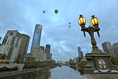 Balloons over Melbourne and the Yarra River - Australia (les.butcher) Tags: city bridge tower river streetlamp balloon australia melbourne victoria southbank yarra princes flights eureka
