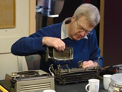 Jaap reassembling the Imperial D typewriter (dvanzuijlekom) Tags: typewriter arnhem thenetherlands april bibliotheek kkn 2013 canonef50mmf18mkii koningsweg hackerspace canoneos7d typein hack42 lurwah kkn6 buitenplaatskoningsweg kampkoningswegnoord jaaphorstink