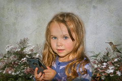 Little girl with Cell Phone (jta1950) Tags: flowers portrait people cute bird texture girl kids female hair children person kid child background blueeyes adorable littlegirl enfant younggirl crisbuscaglialenz