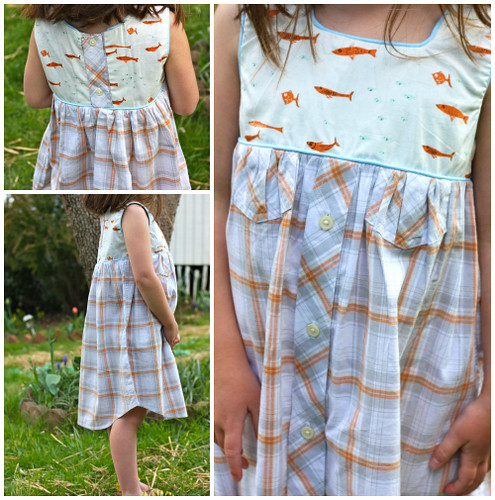KCW day one:  Upcycled button down Geranium dress