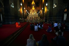 Chanting ~thailand bangkok,     Golden Buddha Hall @ WAT PHO~ (PS~~) Tags: trip travel sunset vacation sky holiday building art tourism architecture thailand temple photography gold golden mural asia tour place earth spires bangkok buddha buddhist religion sightseeing buddhism grand palace tourist journey po planet sight reclining traveling southeast ornate wat visiting pho statuary exploration hindu siam touring deity bkk hindi illuminate thep   frescoes travelphotography plated rattanakosin krung   kingdomofthailand  totallythailand historyremains
