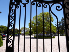 Look through gate (c_nilsen) Tags: california house architecture digital gate wroughtiron mansion digitalphoto hillsborough sanmateocounty carolands