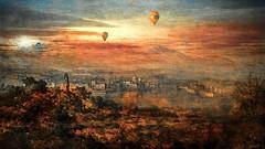 Port Mditerranen (jeanfenechpictures) Tags: ballons dirigeables dirigible dirigibleballoons balloons sky ville town port mer sea city maisons houses chemin path way montagnes soleil sun nuages clouds mditerrane textures dessins draws