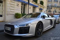 Audi R8 V10 Plus 2015 (Monde-Auto Passion Photos) Tags: auto paris france gris automobile plus audi v10 coup r8