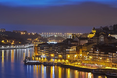 L'uomo nero / The black man (Porto from Dom Luis I Bridge, Portugal)(Explore!!!) (AndreaPucci) Tags: ribeira porto night thedon sandeman wine oporto andreapucci canoneos60 portugal explore