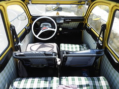 Cabin fever (Couldn't Call It Unexpected) Tags: citroen 2cv interior check yellow green steering wheel