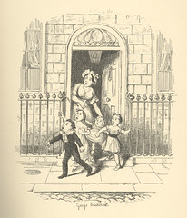 """""""Hackney Coach Stands"""" (Rescued by Rover) Tags: george cruikshank sketches boz illustration charles dickens victorian london"""