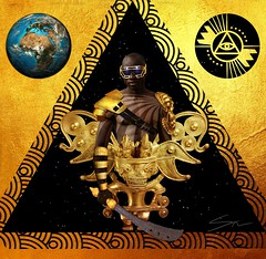 Warrior (visual_paradox) Tags: afrofuture afro futurism gold foil goldfoil earth africa african american warrior farmer third eye contemporary modern golden triangle trippy dope black ebony powerful weapon psychedelic space infinite design graphic photoshop shea huening