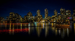 Ships that pass in the night (Images by Christie  Happy Clicks for 2016!) Tags: vancouver bc canada falsecreek nikon d5200 nightphotography photogrpahy twilight boats water dusk sklyline longexposure lowlightphotography