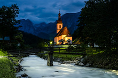 Ramsau - the Church of St. Sebastian (hjuengst) Tags: ramsau berchtesgaden bluehour stsebastian church water river alps bavaria knigsee watzmann hintersee malereck malerwinkel painterscorner
