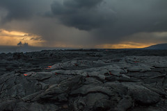 A Warm sunset! (RaulCano82) Tags: handheld lava hawaii hot magma hi island beach volcano smoke steam rock lavarock cloud cloudy sunset orange sky earth nature