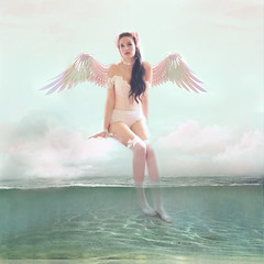 Angel of the Seas ('_ellen_') Tags: angel wings wing pink turquoise sea water clouds green sitting ellen mcdermott contemporary artistic