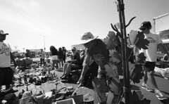 Day at Swap Meet (bc50099) Tags: eastmankodakdoublex wideangletrielmar wate leicam4 diafine33 blackandwhite monochrome outdoors 5222 selfdeveloped lowperspective sportsarena people socal sandiego shopping fleamarket