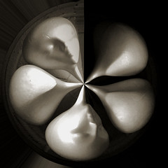 5 Heads in a Basket (BKHagar *Kim*) Tags: bkhagar head heads face faces styrofoam form distorted distortion monochrome