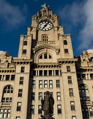 Royal Liver Building (frisiabonn) Tags: statue liverpool royal liver building uk england great britain clock bird sky old tall big structure