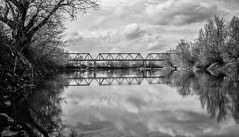 (DomiKetu) Tags: bridge bw reflection nature water train reflections river landscape mono landscapes pod nikon iron long exposure rail railway ironbridge reflected filter le romania nd vr fader cfr mures fier lipova 18105mm d5100