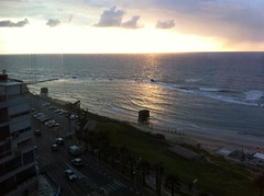 View from balcony, Maison Lisbona, Bat Yam (dlisbona) Tags: sunset sea vacation holiday vacances soleil israel telaviv sonnenuntergang view apartment flat rental location appartement luxury seaview  coucherdusoleil batyam louer apartement sejour