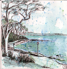 Huskisson Beach spatter (quirkyartist) Tags: watercolour spatter huskisson underpainting lamysafari
