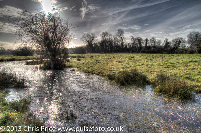 Icy flood water, Sherfield On Loddon
