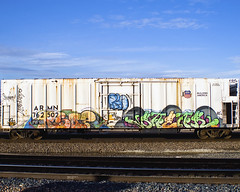 RSO - SWEAR (Electric Funeral) Tags: railroad art digital train canon photography graffiti midwest nebraska paint ant railway iowa railcar restore traincar omaha graff aerosol freight swear reefer freighttrain councilbluffs armn rso gtl benched benching xti freighttraingraffiti allnation