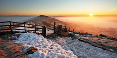First Light (matrobinsonphoto) Tags: park morning winter light red sky orange cloud sun sunlight mist mountain snow nature beautiful fog sunrise fence landscape outdoors hope dawn golden countryside frozen back frost district derbyshire hill peak ridge national valley inversion tor lose mam edale castleton