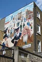 Mile End Road mural (Andy Worthington) Tags: london murals publicart mileend e1 captaincook londone1 georgebernardshaw williambooth mileendroad andyworthington londonboroughoftowerhamlets mychaelbarratt