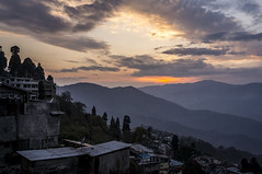 Darjeeling in Wintertime (wottpal) Tags: city light sunset orange cloud sun india mountain tree berg landscape licht sonnenuntergang sony hill gray cottage htte wolken haus grau peak stadt himalaya landschaft sonne bume shining darjeeling indien baum spitze hgel wellblech