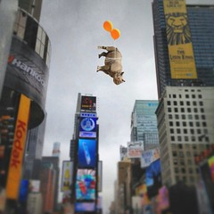 concrete jungle (Janine Graf) Tags: city travel ny silly 6x6 balloons manhattan surreal adventure timessquare rhino artrage whimsical whiterhinoceros cementjungle juxtaposer tiltshiftgen janine1968 scratchcam janinegraf snapseed