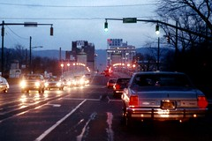 Wilkes-Barre skyline - 1980's (Hank Rogers) Tags: pictures old bridge winter up sign skyline vintage photography lights hotel photo twilight neon traffic photos dusk pennsylvania memories picture kingston nostalgia pa photographs photograph memory policecar nostalgic sterling 1980s wilkesbarre dawes hotelsterling sterlinghotel unitedpennbank