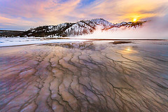 Grand Prismatic Sunset (kevin mcneal) Tags: winter snow kevin seasons grand yellowstonenationalpark geyser winterlandscape prismatic mcneal