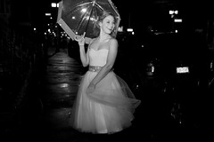 (AlexandraGalvis) Tags: new york old city nyc school portrait blackandwhite white classic girl smile rain night umbrella canon happy dance glamour dancing girly sparkle nightime hollywood laugh nights studentfilm delicate cinematic oldies playful tulle glamor classy shortfilm longskirt whitedress rainynight tulleskirt wetstreets oldhollywood tulledress