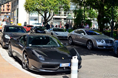 3x Ferrari 458 Italia, Bentley Continental GT & Bugatti Veyron (piolew) Tags: red white black hotel italia top continental ferrari monaco mc carlo monte gt hermitage bugatti marques bentley 2012 combo veyron 458 worldcars tm12