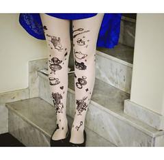 go ask alice when she's  ten feet tall (c. coelho) Tags: blue tights wonderland aliceinwonderland